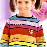 Как связать  разноцветный пуловер и шапочка в полоску