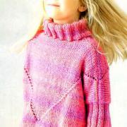 Как связать  свитер с большим воротником-стойкой