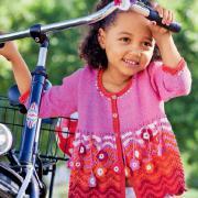 Как связать  свободный детский кардиган с цветами