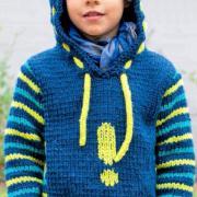 Как связать  теплый пуловер с полосатыми рукавами