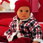 Как связать  теплый жакет в клеточку для ребенка