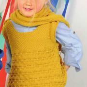 Как связать  удлиненная детская безрукавка и шарф