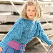 Как связать  укороченный детский джемпер на кулиске