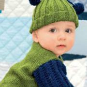 Как связать  зеленый пуловер и шапочка для вашего малыша