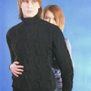 Как связать для мужчин черный мужской свитер