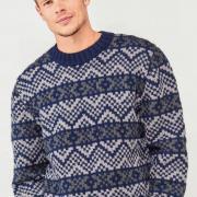 Как связать для мужчин цветной классический пуловер для мужчины