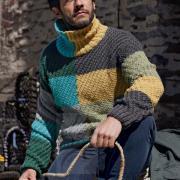 Как связать для мужчин цветной мужской пуловер резинкой