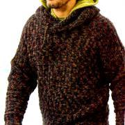 Как связать для мужчин меланжевый джемпер с капюшоном для мужчины