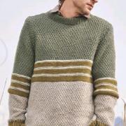 Как связать для мужчин мужской пуловер с полосками в пастельных тонах