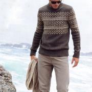 Как связать для мужчин мужской свитер с жаккардовым узором