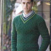 Как связать для мужчин мужской зеленый пуловер
