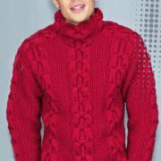 Как связать для мужчин объемный свитер с жемчужным узором