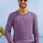 Как связать для мужчин приталенный мужской пуловер с круглым воротником
