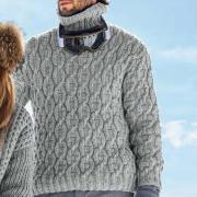 Как связать для мужчин пуловер для мужчины с воротником