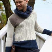 Как связать для мужчин стильный трехцветный пуловер для мужчины