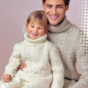 Как связать для мужчин свитеры с косами для папы и сына