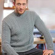 Как связать для мужчин теплый мужской свитер с узором из кос
