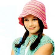 Как связать  полосатая шляпка для девочки