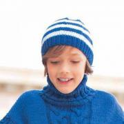 Как связать  шапка бини в полоску