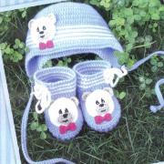 Как связать  шапочка и пинетки для ребенка в полоску