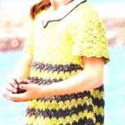Как связать  двухцветное платье в полоску