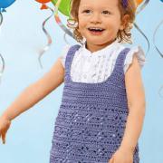 Как связать  лиловый сарафан для маленькой девочки