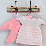 Как связать  платье в полоску и штанишки для маленькой девочки