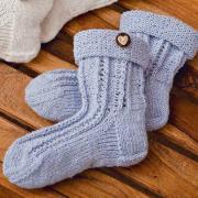 Как связать  ажурные высокие носки с отворотом