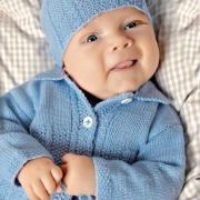 Как связать  детский кардиган с отложным воротничком, штанишки и шапочка