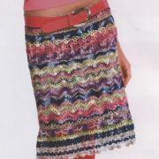 Как связать крючком цветная прямая юбка