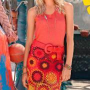Как связать крючком цветная юбка-парео с рисунком из кругов