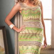 Как связать спицами ажурное приталенное платье-майка