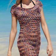 Как связать спицами ажурное приталенное платье без рукавов