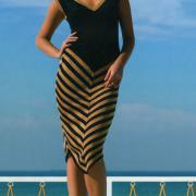 Как связать спицами черно-белое платье с диагональными полосками