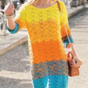 Как связать спицами цветное ажурное платье свободного фасона