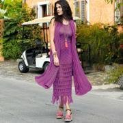 Как связать спицами длинное платье миди с бахромой и шарф