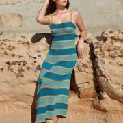 Как связать спицами длинное полосатое платье на бретелях