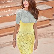 Как связать спицами двухцветное платье с ажурной юбкой