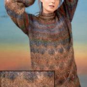 Как связать спицами меланжевое платье с рукавами буф