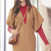 Как связать спицами мини-платье с глубоким вырезом