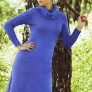 Как связать спицами облегающее платье с воротником шалькой
