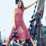 Как связать спицами платье до колена с широкой юбкой