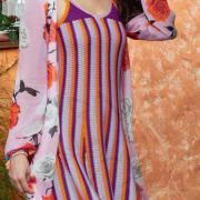 Как связать спицами платье-майка с вертикальной полоской