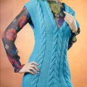 Как связать спицами платье без рукавов с v-образным вырезом