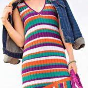 Как связать спицами полосатое платье-сарафан со скошенной линией низа