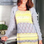Как связать спицами серо-желтое платье и серый шраг