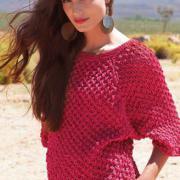 Как связать спицами алый пуловер с узором