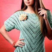 Как связать спицами ажурный джемпер и шарф мятного цвета