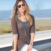 Как связать спицами ажурный пуловер с бирюзовыми планками