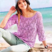 Как связать спицами ажурный пуловер с круглым воротником